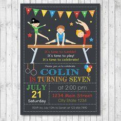 Little tumblers Birthday Invitation Card - Boy - Gymnastic Invitation - Digital Printable File Boys Gymnastics, Gymnastics Birthday, Golden Birthday, 4th Birthday, Birthday Parties, Invitation Ideas, Invitation Cards, Time To Celebrate, Party Stuff