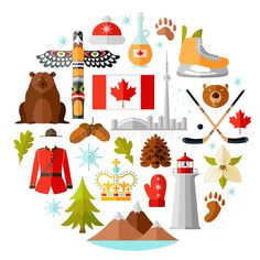 Illustration about Canada vector symbols set. Collection of national canadian icons. Selection of design elements in a flat style. Illustration of hockey, lighthouse, bear - 95337076 Canadian Symbols, Canada Day Crafts, Canadian Christmas, Royal Icing Transfers, Chocolate Art, Chocolate Lovers, Diy Wedding Gifts, National Symbols, Halloween Gifts