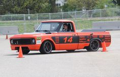 """Bob Bertelsen's LS-powered @detroitspeedinc, @jrishocks, and Baer Brakes-equipped """"Orange Rush"""" '69 C-10 pickup on 18-inch Forgeline CF3C wheels finished with Matte Black centers and Polished outers. See more at: http://www.forgeline.com/customer_gallery_view.php?cvk=1136  #Forgeline #CF3C #notjustanotherprettywheel #madeinUSA #Chevy #C10 #DSE #JRi"""