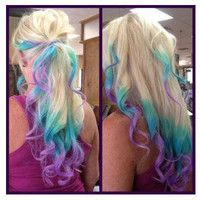 Clip In Rainbow Hair-  Ombre Hair Extension - Weft Clip Extensions - Ombre - Free People -18inch Blonde Hair Only