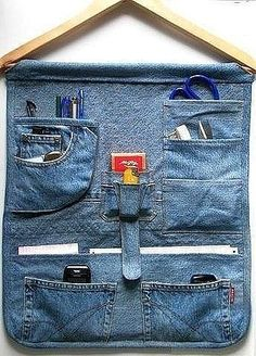Repurpose old jeans into a trendy storage organizer.