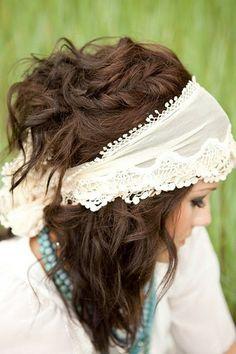 This is beautiful - bohemian, messy, braid, half up, wide headband. It's got it all