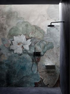 As Tadelakt is water repellent there's absolutely no demand for tiling etc. Tadelakt is incredibly versatile and may be used in a lot of means. Tadelakt not on. Bathroom Inspiration, Interior Inspiration, Creative Inspiration, Design Inspiration, Tapete Floral, Mural Floral, Flower Mural, Wall Murals, Wall Art
