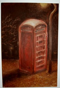 Red English Phone Booth at Night