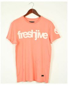 Freshjive #Super Corporate light rose #Tee with Freshjive front print and right arm print.