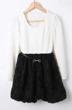 White Black 3D Rose Long Sleeve Chiffon Dress
