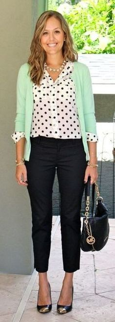 Summer Office Outfit | today s everyday fashion mint polka 177