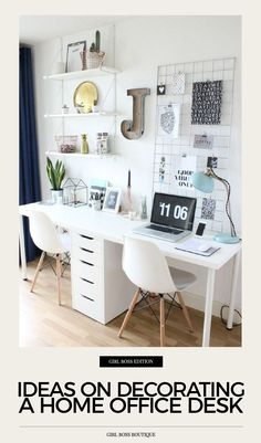 31 White Home Office Ideas To Make Your Life Easier; home office idea;Home Office Organization Tips; chic home office. Home Office Design, Home Office Decor, Workspace Design, Office Workspace, Office Room Ideas, Office Inspo, Office Designs, Small Office Decor, Home School Room Ideas