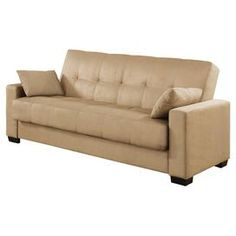 Streamlined sofa with tufted olive upholstery. Seat lifts to extra storage and back lies flat for sleeping. Product: Storage so. Two Couches, Couch Cushions, Throw Pillows, Sofa Bed With Storage, Best Sofa, Extra Storage, My Dream Home, Convertible, Love Seat