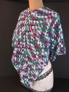 Purple Green & Cream Colored Cotton Poncho, Handmade Women's Teens Crochet Apparel - pinned by pin4etsy.com