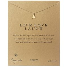 Dogeared Live Love Laugh Heart Reminder (Gold) Necklace (77 AUD) ❤ liked on Polyvore featuring jewelry, necklaces, accessories, gold charm necklace, heart pendant necklace, gold pendant, heart necklace and heart chain necklace