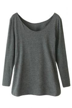 Gray Ladies Crew Neck Plain Long Sleeve Modal Cotton T-shirt
