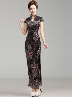 Black Ankle-length Lace Floral Cheongsam / Qipao Dress
