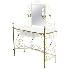 Decorative Vanity Dressing Table Milk Glass Top Metal Scrolls Brass Hardware