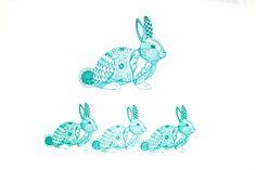 Fabric print of the Rabbit using Screen Sensation