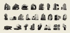 The Slotervaart Alphabet is constructed from various buildings from the Amsterdam district of Slotervaart.