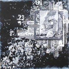 Mixed media layout . Start to finish tutorial - paints and scraps in black/grey/white  https://www.facebook.com/wilma.voermans http://www.pinterest.com/wilma8/ http://swissdutchy8.blogspot.ch/