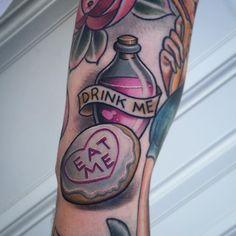Alice eat me drink me tattoo