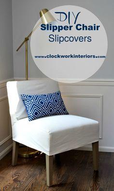 How to make slipper / occasional chair slipcovers / Clockworkinteriors.com