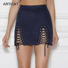 Sexy Lace Up Leather Suede Skirts - Bodycon Mini/Short Skirt