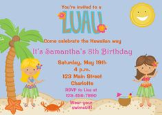 Luau party birthday invitation  pool party  by TheButterflyPress, $12.00