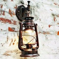 Wish | Vintage Style Retro Lantern Wall Lamp Sconce Nostalgia Lights Fixture Fitting with Bulk(Material: Mental,Glass) (Color: Black)