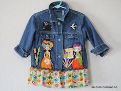 24f20ef57 Clearance Sale Girls Tattered Jean Jacket   Upcycled Osh Gosh ...