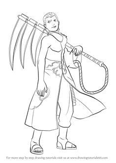 Learn How to Draw Hidan from Naruto (Naruto) Step by Step : Drawing Tutorials Sasuke Drawing, Naruto Drawings, Naruto Sketch, Anime Sketch, Naruto Sage, Drawing Anime Bodies, Naruto Painting, Anime Lineart, Naruto Oc Characters