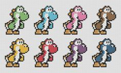 Free Yoshi Cross Stitch - http://amiefosterblog.blogspot.co.nz/2013/08/vintage-gaming-cross-stitch.html
