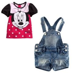 retail minne mouse baby girl clothes set 3~7age two-piece suit with shorts girls apparel free shipping