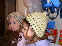 Here is a beaded hat that she I made for my girls. They love them. I found the pattern on provocraft website. I used the kniffty knitter looms. I used pastel yellow Jiffy yarn. For the hat that has purple in it. I used one strand of Jiffy and one strand of a verigated purple/yellow of sugar n cream. The beads are pony beads.    My girls love the hats. I have made the same hats without the beads for infants and they knit up quickly.