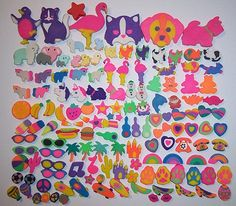 lisa frank erasers - i used to line mine up almost exactly like this