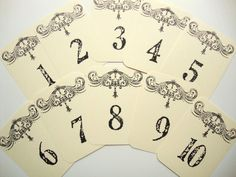 French Country Wedding Table Number Cards. $15.00, via Etsy.