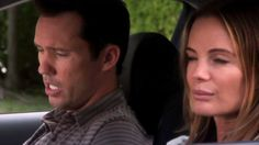 """""""Criminals and celebrities, they never live up to the hype."""" [Fi Glenanne] Pictured: Fiona Glenanne (Gabrielle Anwar) and Michael Westen (Jeffrey Donovan)"""