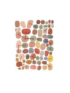 """River stones Red Brown dots connected giclee watercolor painting Wall decor 8 x 11"""" burnt siena autumn fall on Etsy, $25.00"""