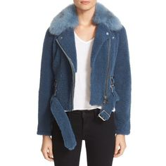 Women's Burberry 'Barrsthorpe' Genuine Shearling Moto Jacket With... ($2,795) ❤ liked on Polyvore featuring outerwear, jackets, light steel blue, cropped jacket, shearling biker jacket, shearling collar jacket, cropped motorcycle jacket and blue jackets