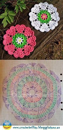 Crochet Square Off Heart Manda Hobby na Stylowi. This Pin was discovered by mar Discover thousands of images about Crochet coasters. Beautiful granny square with pattern Crochet Circles, Crochet Flower Patterns, Crochet Squares, Crochet Granny, Easy Crochet, Crochet Flowers, Knitting Patterns, Free Knitting, Crochet Triangle