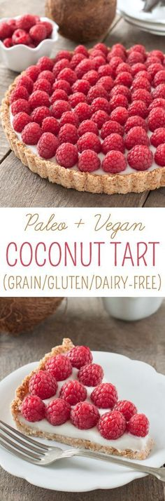 This raspberry coconut tart has a simple press-in coconut crust and coconut pudd. This raspberry coconut tart has a simple press-in coconut crust and coconut pudding filling! {paleo, vegan, grain-free, gluten-free, and dairy-free} Vegan Dessert Recipes, Gluten Free Desserts, Dairy Free Recipes, Healthy Desserts, Just Desserts, Delicious Desserts, Yummy Food, Tart Recipes, Healthy Foods