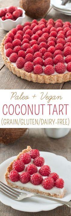 Vegan Raspberry Coconut Tart