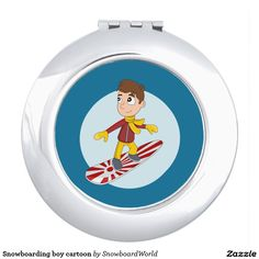 Snowboarding boy cartoon mirror for makeup