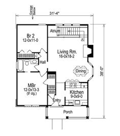 Small house with garage | House plan | Pinterest