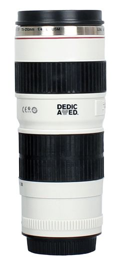 DEDICATED. Themos Cup white - Lens Cup - Thermobecher Camera Linse - Kaffee Tasse/ Lens-Becher / Trink Becher in Kamera Objektiv - Design Simulation wie Canon EF 70-200mm 1:4 L USM #gift #canon #lenscup #cameracup #camera #objektiv #becher