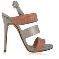 Giuseppe Zanotti Matte Glitter 120 Heeled Sandals ($760) ❤ liked on Polyvore featuring shoes, sandals, glitter sandals, leather buckle sandals, slingback sandals, heels stilettos and high heel slingbacks