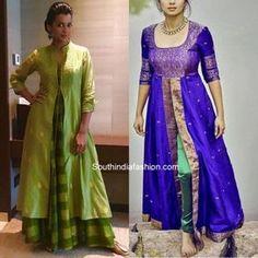reuse old sarees to create front slit kurtis Silk Kurti Designs, Kurta Designs Women, Salwar Designs, Kurti Designs Party Wear, Design Of Kurti, Long Kurta Designs, Mehndi Designs, Saree Gown, Anarkali Dress