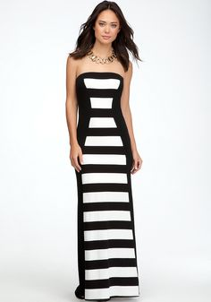 bebe   Rugby Stripe Maxi Dress - PETITES ONLINE EXCLUSIVE - View All