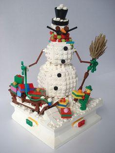 mustachioed lego snowman by Josip Špika