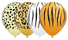 12 Jungle Safari Animals Print Latex Balloons