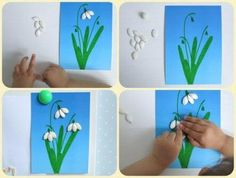 hóvirág Art Projects, Projects To Try, Diy And Crafts, Paper Crafts, Cotton Crafts, Spring Flowers, Art Lessons, Origami, Kindergarten