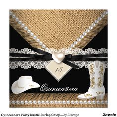 Quinceanera Party Rustic Burlap Cowgirl Hat Boots 5.25x5.25 Square Paper Invitation Card
