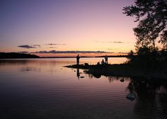 Fishing at sunset on Lake of the Woods near Sioux Narrows, Ontario.
